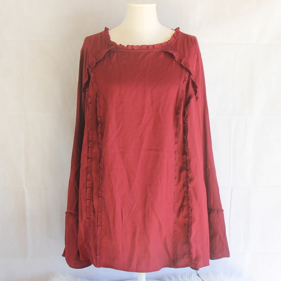 63d8b46c904 Plus 3X Ruffle Top Red Long Bell Sleeve Blouse Top